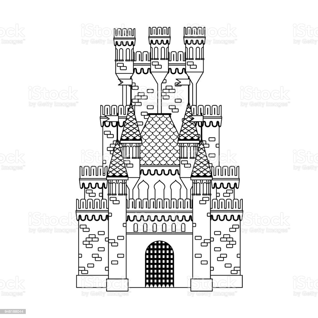 Livre De Coloriage Château Médiéval Vecteurs Libres De Droits Et Plus Dimages Vectorielles De Antique