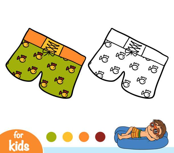 illustrations, cliparts, dessins animés et icônes de livre de coloriage, mens nager shorts - homme slip