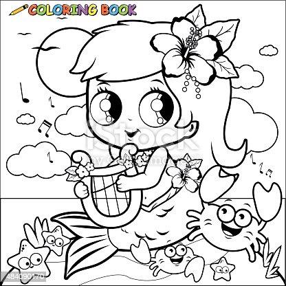 istock Personaje de dibujos animados sirena para colorear página de ...