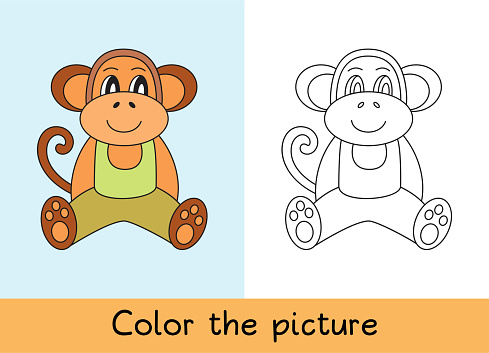 Boyama Kitabi Maymun Sebek Karikatur Hayvan Cocuk Oyun Renkli