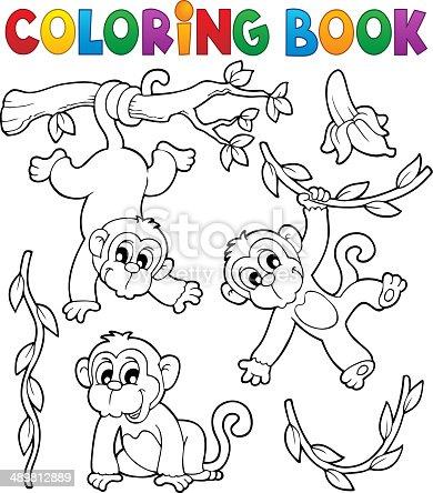 Ilustración de Libro Para Colorear Mono Tema 1 y más banco de ...