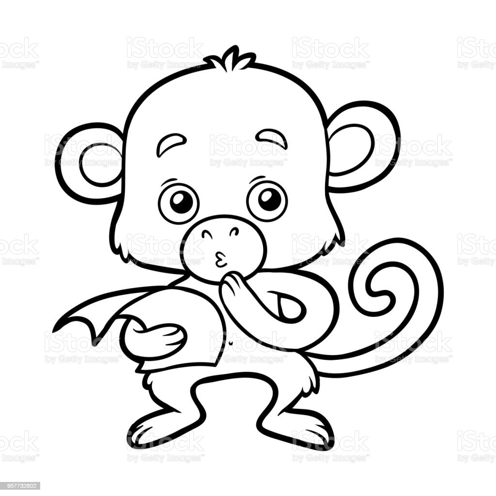 Ilustración de Libro Para Colorear Mono y más banco de imágenes de ...