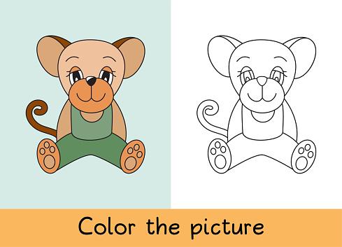 Boyama Kitabi Fare Sican Karikatur Hayvan Cocuk Oyun Renkli Resmi