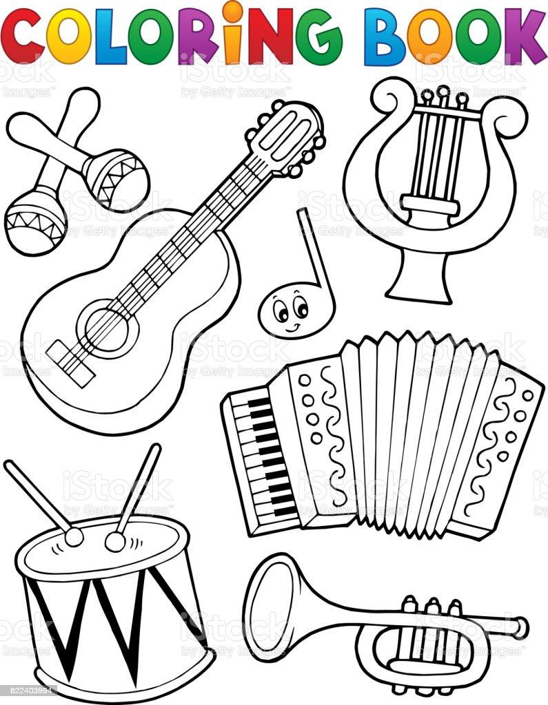 Boyama Kitabı Müzik Aletleri 1 Stok Vektör Sanatı Akordeon