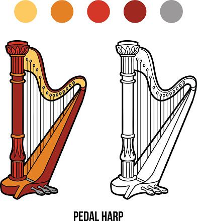 Libro Da Colorare Gli Strumenti Musicali Arpa Pedalata Immagini