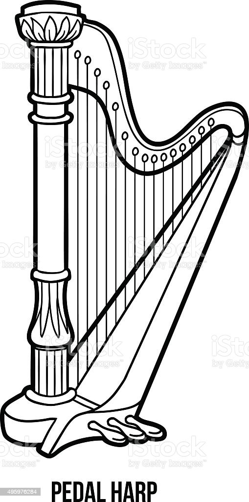 Libro da colorare gli strumenti musicali arpa pedalata for Immagini vector