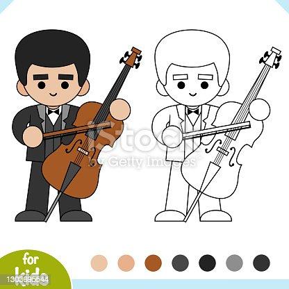 istock Coloring book, Musician and cello 1303695544