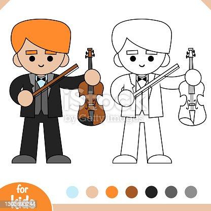 istock Coloring book, Musician man and Violin 1303693244