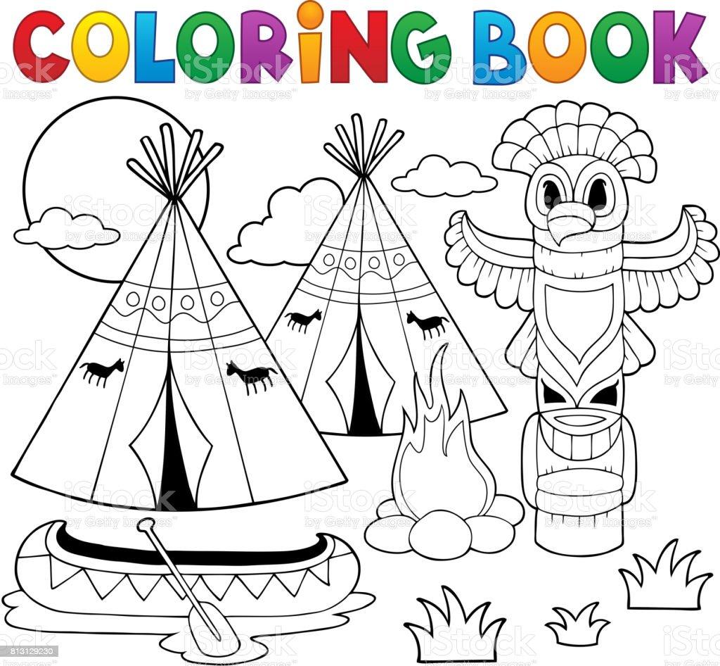 Camping Americano Nativo De Libro Para Colorear - Arte vectorial de ...
