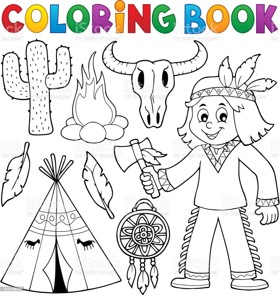 coloring book native american theme 2 royalty free stock vector art - Native American Coloring Book