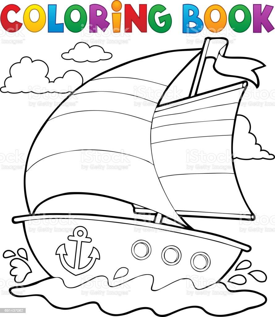 Boyama Kitabi Deniz Tekne 1 Stok Vektor Sanati Boyama Kitabi