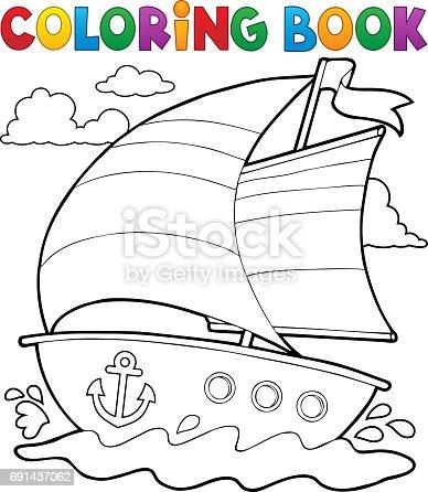 Ilustración de Colorear Barco Náutica De Libro 1 y más banco de ...