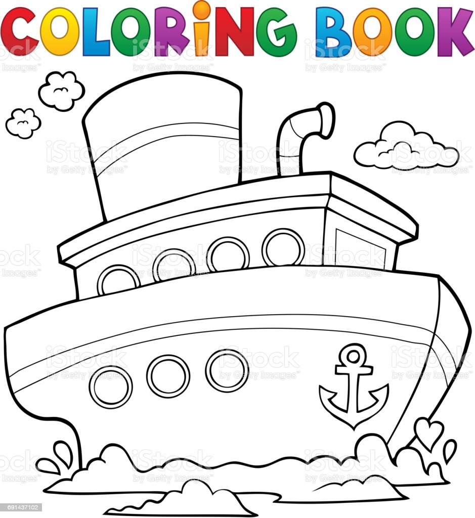 Boyama Kitabı Denizcilik Gemi 1 Stok Vektör Sanatı Baca