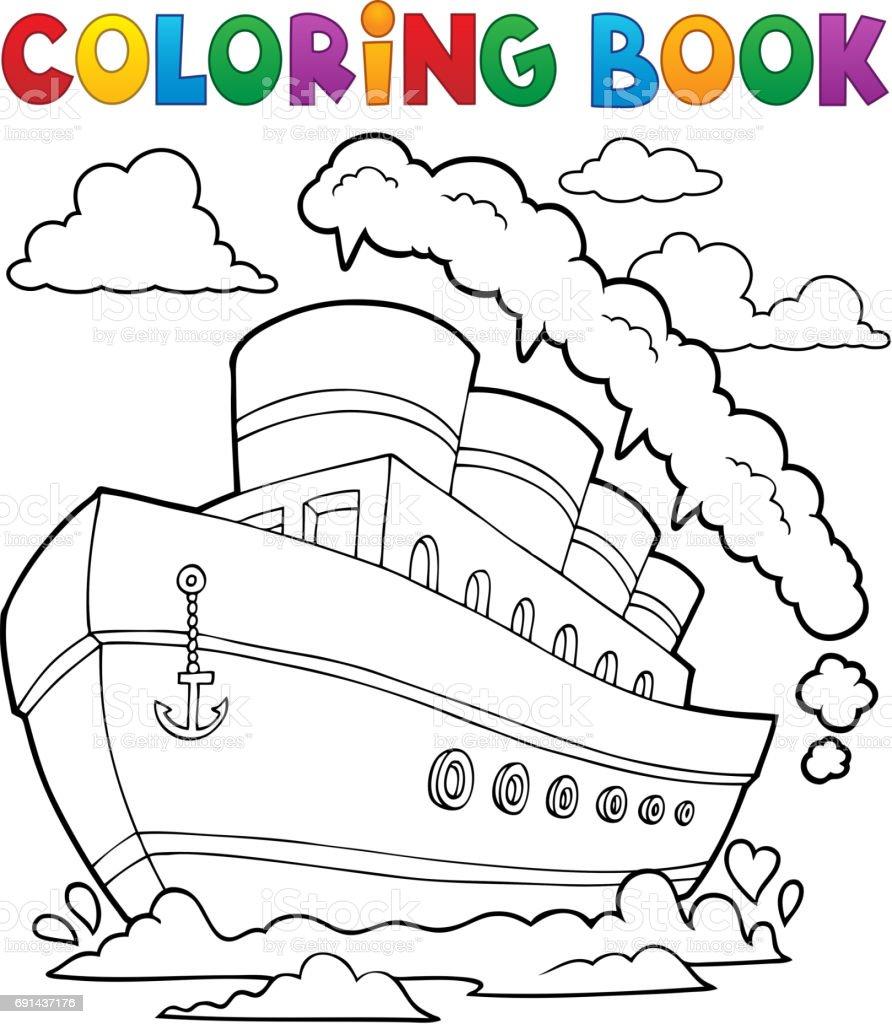 Boyama Kitabı Denizcilik Gemi 2 Stok Vektör Sanatı Bacanin Daha