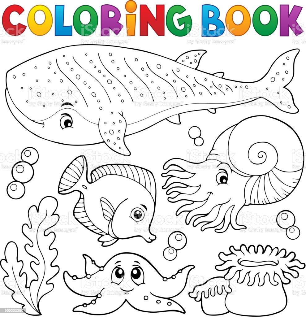 Boyama Kitabı Okyanus Yaşam Tema 1 Stok Vektör Sanatı Balina Köpek
