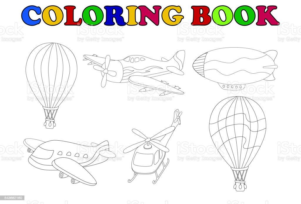 Ilustración de Libro De Colorear De Transporte Aéreo Conjunto De ...