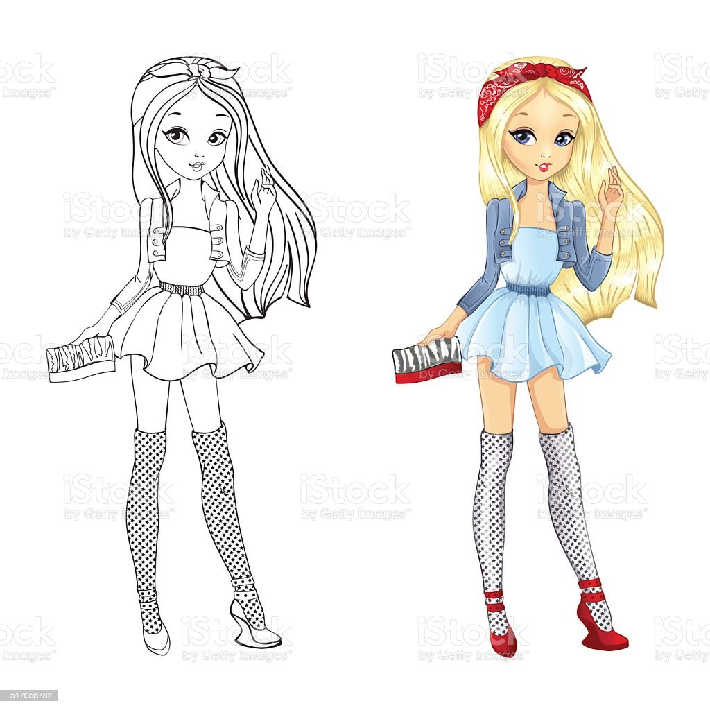 Bonito Chica De Moda Para Colorear Fotos - Dibujos Para Colorear En ...