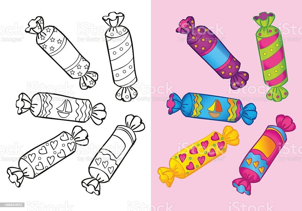 книгараскраска для конфеты стоковая векторная графика и