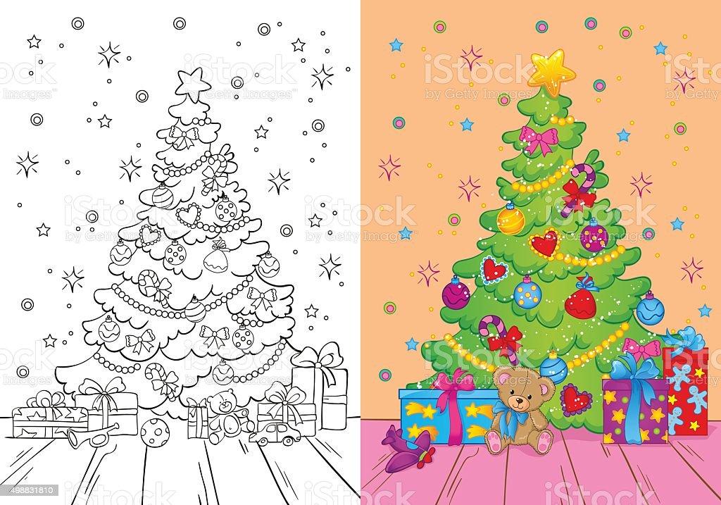 Libro Da Colorare Di Albero Di Natale E Regali Immagini Vettoriali