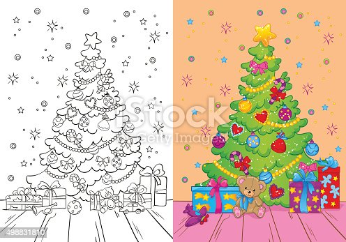 istock Coloring Book Of Christmas Tree And Gifts 498831810