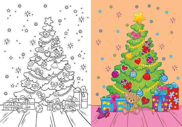 색칠놀이 책 크리스마스 트리 및 선물함 - 색칠하기 stock illustrations