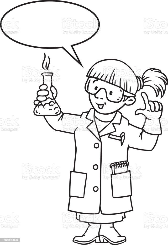 Ilustración de Libro De Colorear Divertido Químico O Científico y ...