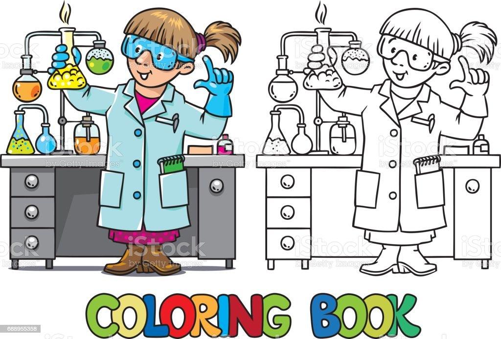 Boyama Kitabı Komik Kimyager Veya Bilim Adamı Stok Vektör Sanatı