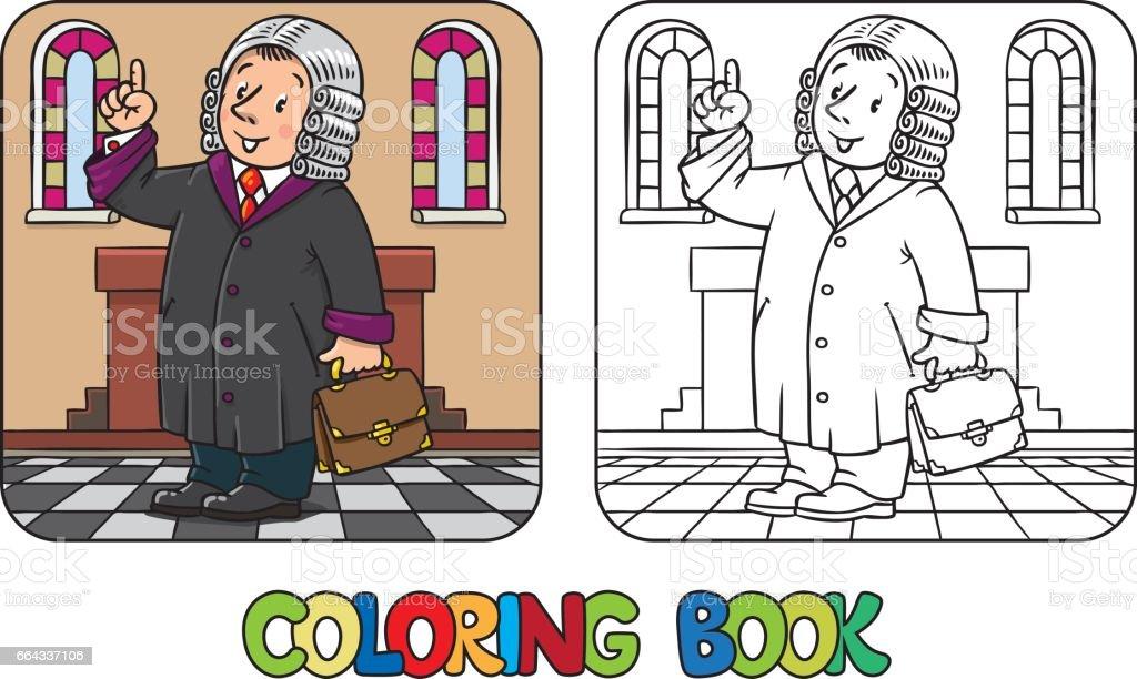 Komik Hakimin Boyama Kitabi Stok Vektor Sanati Adalet Nin Daha