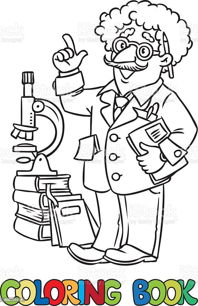 Coloring Book Of Funny Scientist Or Inventor Stock Vector Art & More ...