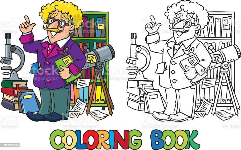 Boyama Kitabı Komik Bilim Adamı Veya Mucit Stok Vektör Sanatı