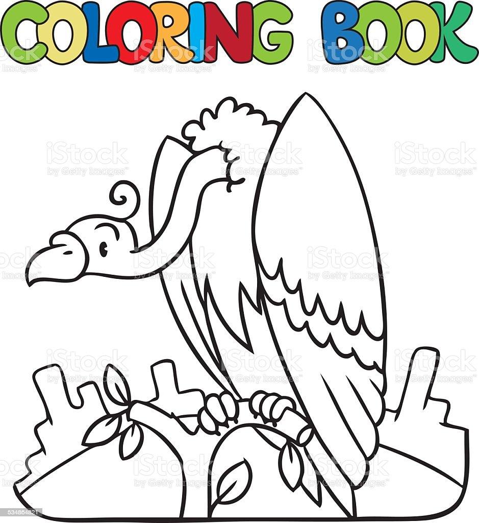 Livro De Colorir Do Urubu Engracado Arte Vetorial De Stock E