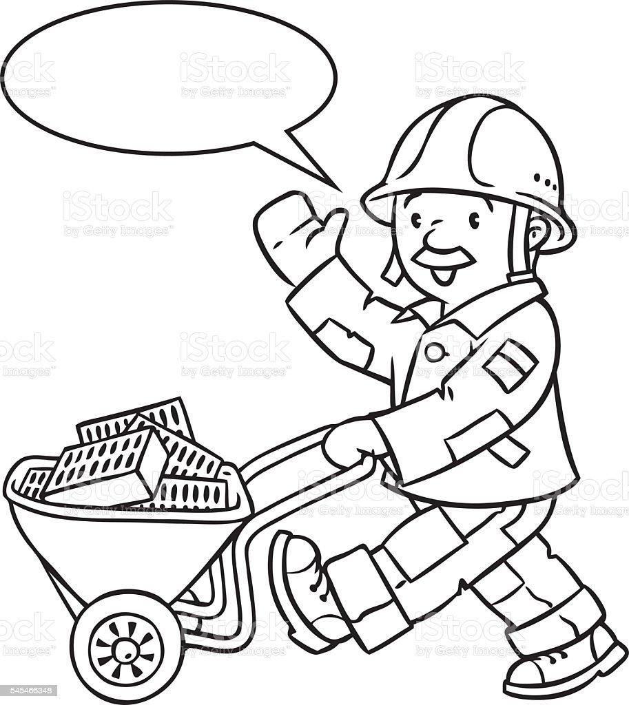 Ilustración de Colorear Libro De La Risa Trabajador Con Carrito y ...