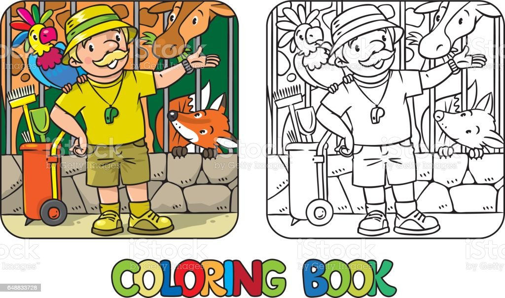 Coloring Book Of Funny Zoo Keeper With Parrot stock vector art ...