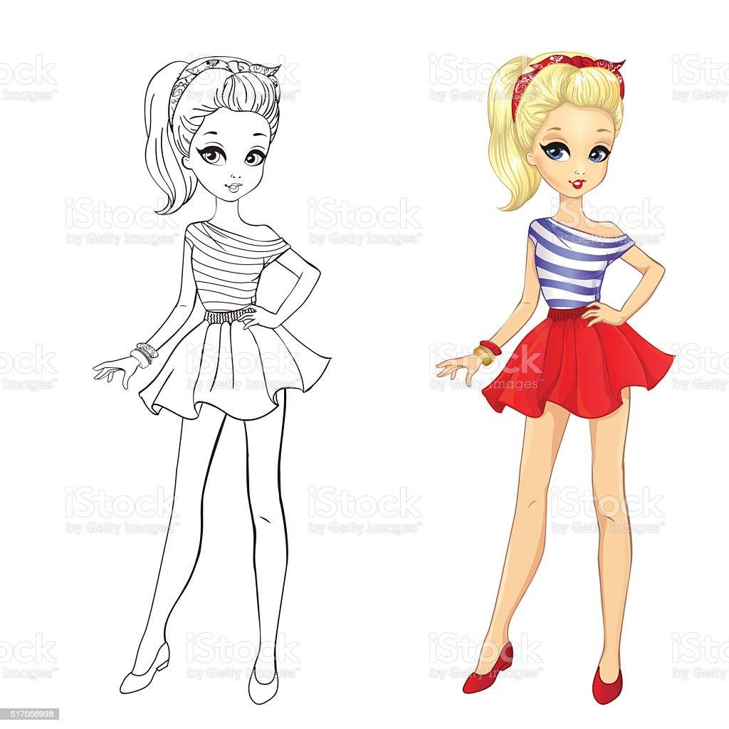 Ilustración de Libro Para Colorear De Chica En Falda Rojo y más ...