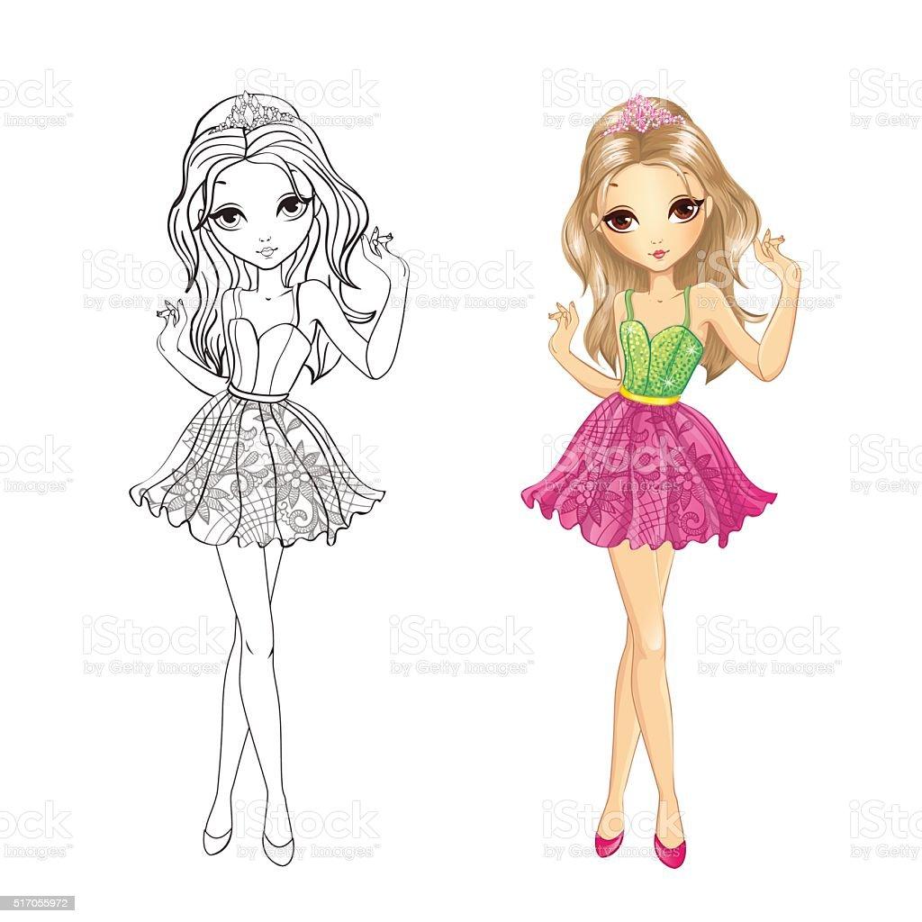ilustração de livro de colorir de menina com tiara de e mais banco
