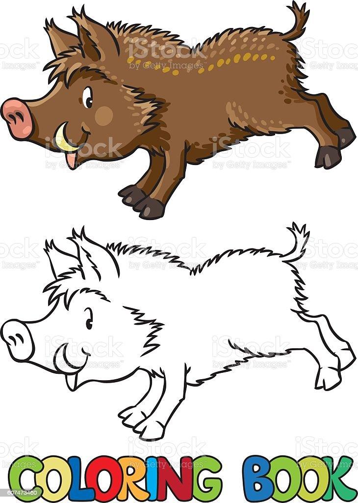 Malbuch Wenig Lustiger Wildschwein Oder Wild Schwein Stock Vektor ...
