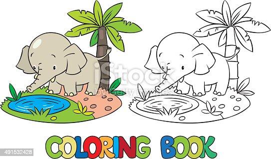 istock Libro para colorear de poco funny elephant o almohadas ...