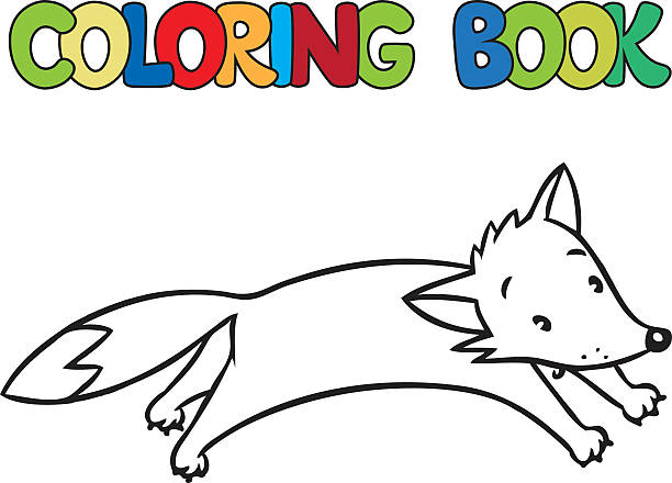 red fox coloring book clip art vector images illustrations - Fox Coloring Book