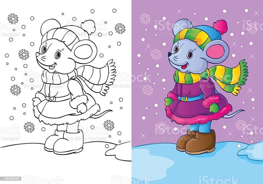 Libro Para Colorear De Ratón Decorado En Ropa De Invierno - Arte ...