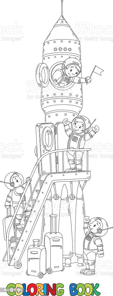 Coloring book of rocket and boys-astronauts vector art illustration