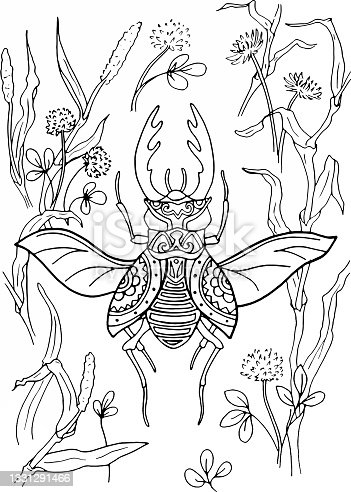 istock Coloring book of stag beetle with the herb of the field. 1331291466