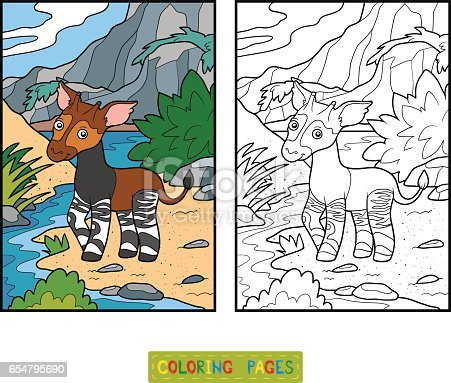 Coloring Book Okapi Stock Vector Art & More Images of Africa ...