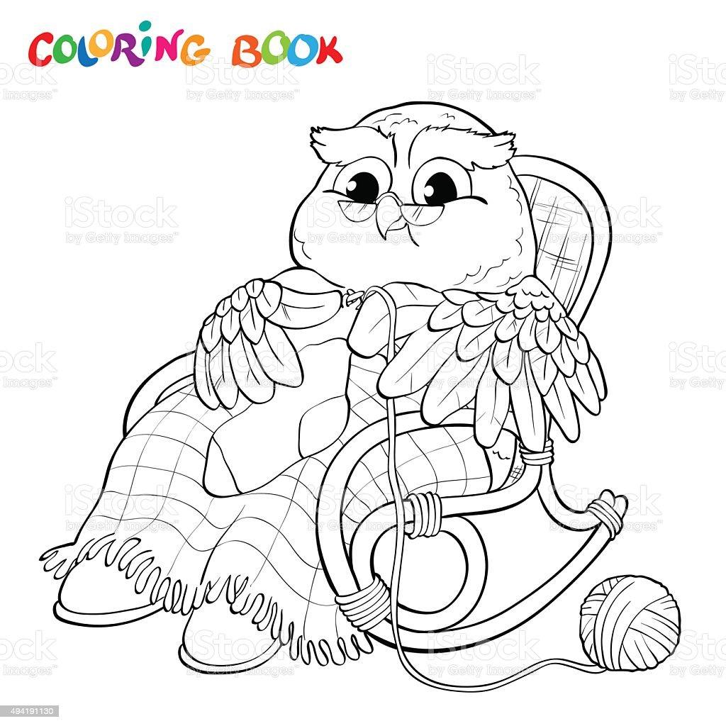 Ilustración de Libro Para Colorear Old Búho En Un Sillón De Tejer ...