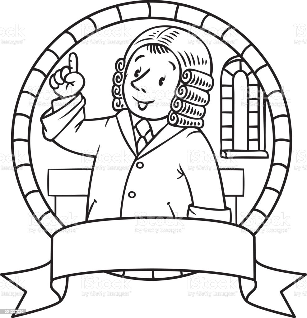 Ilustración de Libro Para Colorear O Emblema Del Juez Divertido y ...