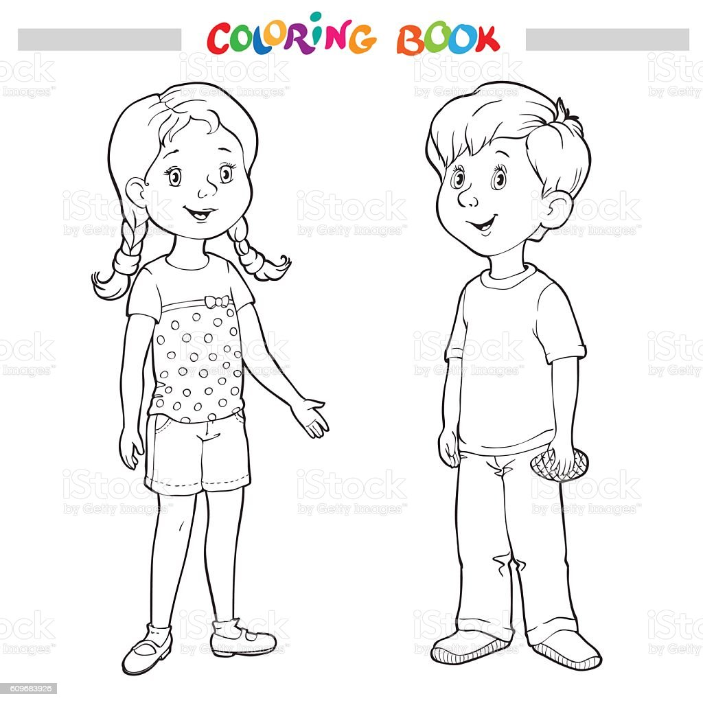 Coloring book or page boy and girl stock vector art more for Coloring pages girl and boy