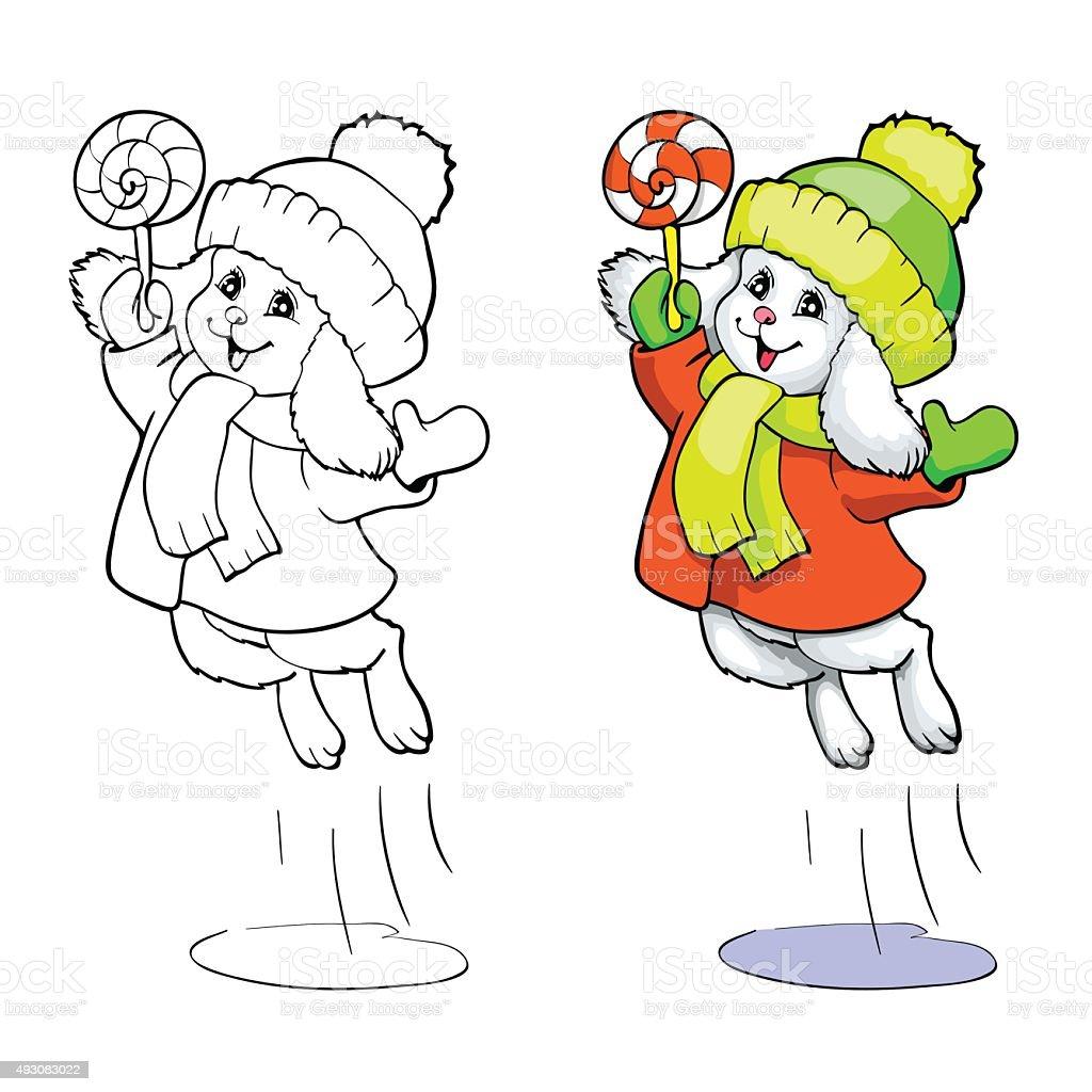 Mit Mantel Oder In Malbuch Bunny Süßigkeiten Seite Einen Onwk0P