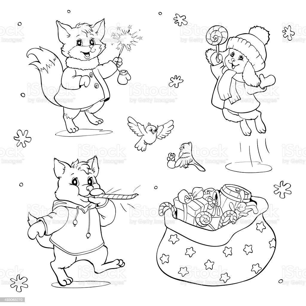 Libro Para Colorear O Pagina Dibujos Animados Animales Con Regalos