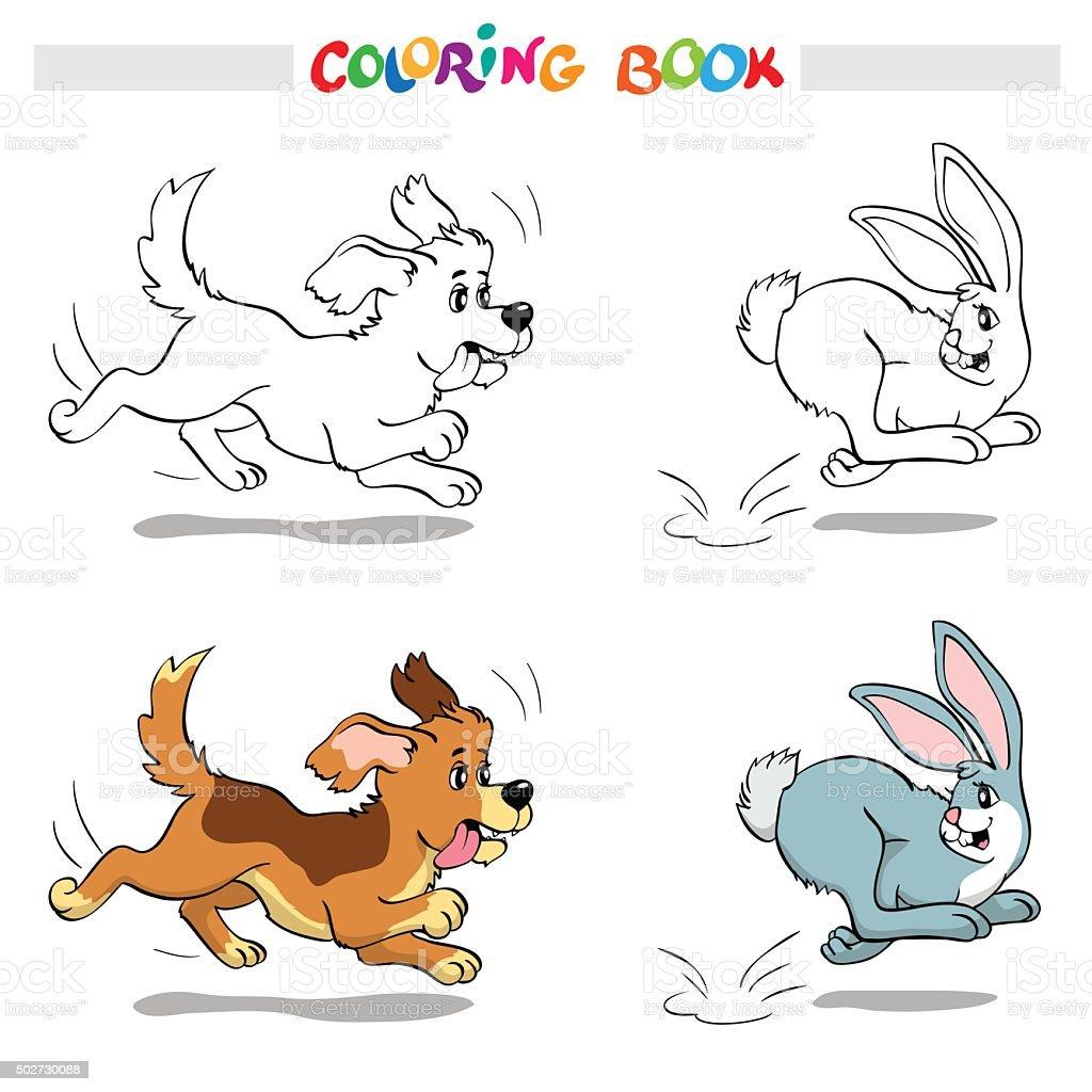 Ilustración de Libro Para Colorear O Página Perro Atrapar Un Conejo ...