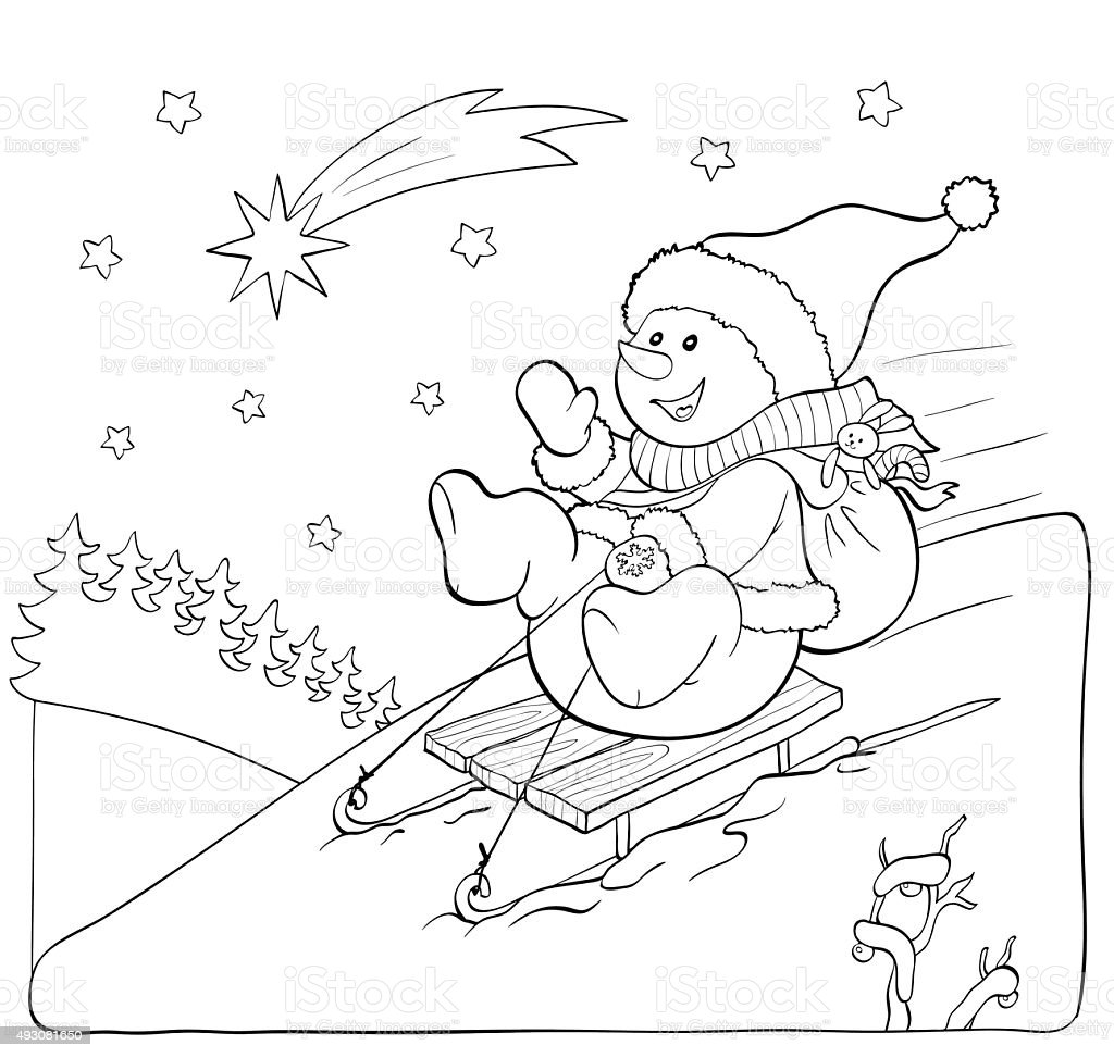 Coloring book or page. Snowman on the sled with gifts. vector art illustration