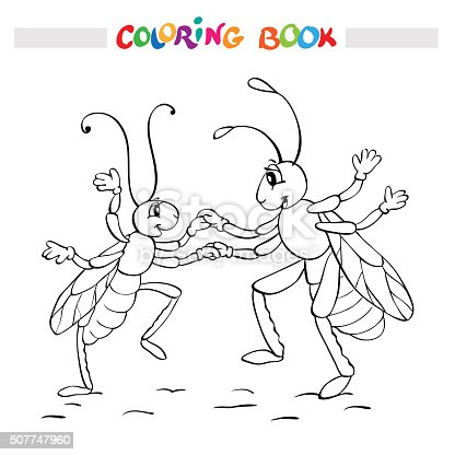 istock Coloring book or page. Two fanny bugs is dancing. 507747960